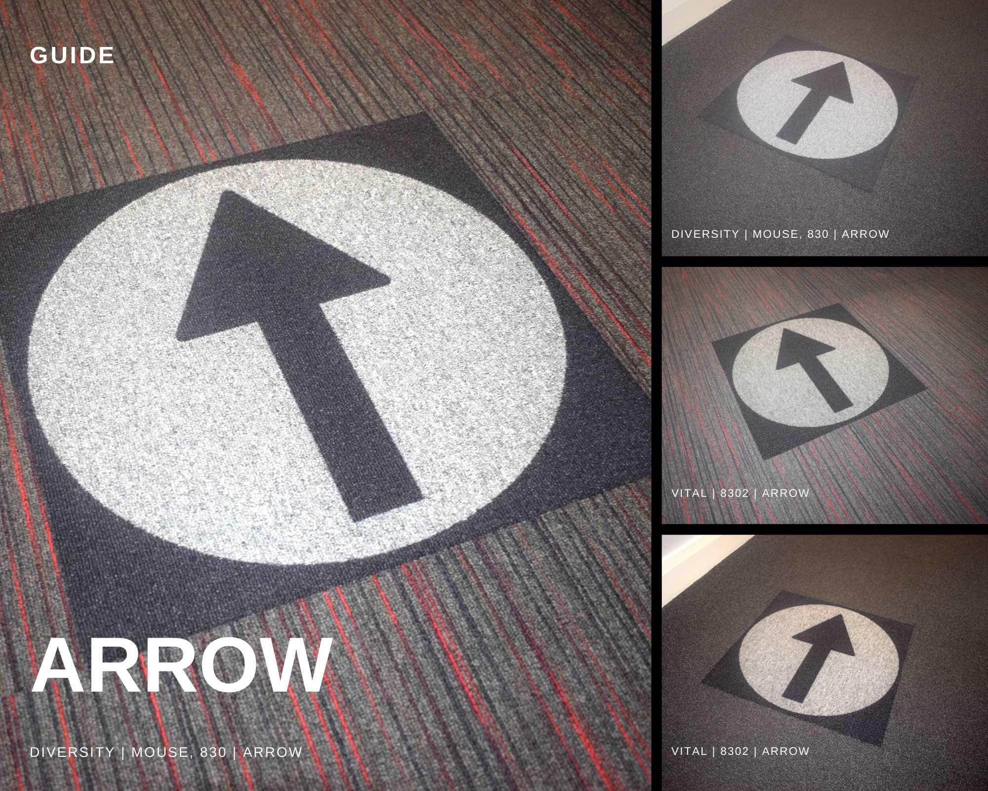 Paragon Carpet Tiles   Social Distancing Carpet Tiles   Guide   Product Collage Image   Arrow