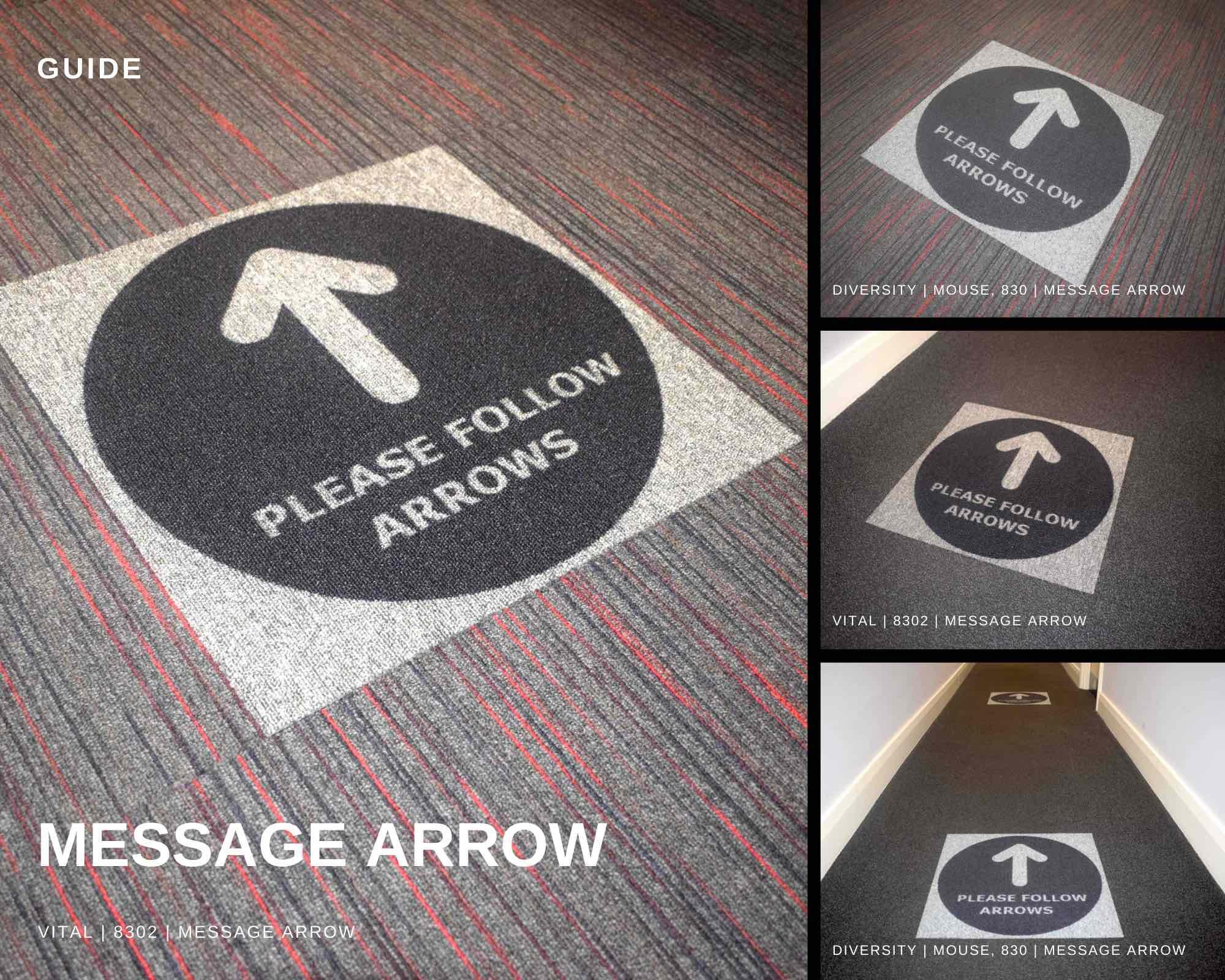 Paragon Carpet Tiles   Social Distancing Carpet Tiles   Guide   Product Collage Image   Message Arrow